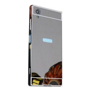 Металлический бампер с акриловой вставкой с зеркальным покрытием для Sony Xperia XA1 Plus (Черный)