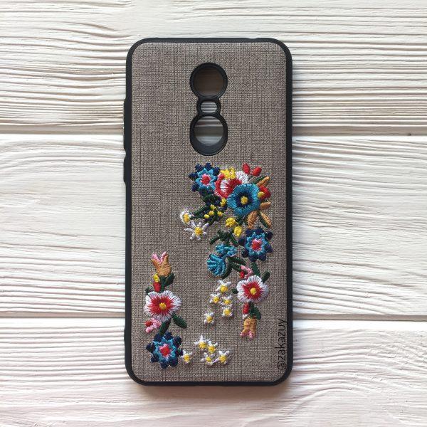 Силиконовый (TPU) чехол – бампер c вышивкой для Xiaomi Redmi 5 Plus