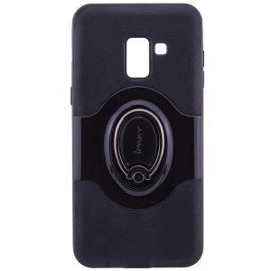 Черный (TPU+PC) чехол iPaky Feather с имитацией кожи и подставкой для Samsung A530 Galaxy A8 (2018) Black