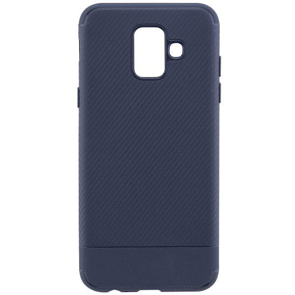 Силиконовый (TPU) чехол – бампер Carbon для Samsung Galaxy A6 (2018) Navy Blue