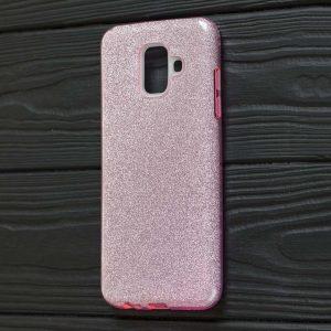 Силиконовый (TPU+PC) чехол Shine с блестками для Samsung Galaxy A6 2018 (Розовый)