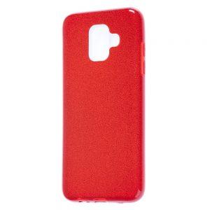 Силиконовый (TPU+PC) чехол Shine с блестками для Samsung Galaxy A6 2018 (Красный)