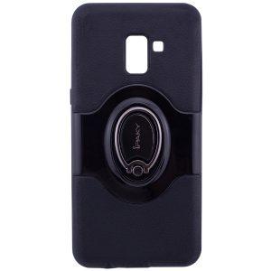 Противоударный чехол – бампер iPaky Feather с имитацией кожи и подставкой для Samsung A730 Galaxy A8+ (2018) Black