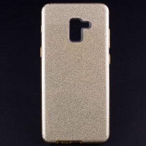 Силиконовый (TPU+PC) чехол Shine с блестками для Samsung A730 Galaxy A8 Plus 2018 (Золотой)