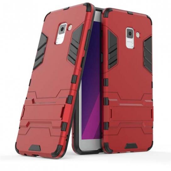 Ударопрочный чехол-подставка Transformer для Samsung A730 Galaxy A8+ (2018) с мощной защитой корпуса (Red)