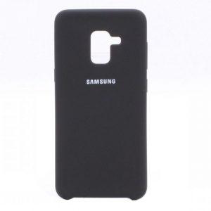 Черный оригинальный матовый силиконовый (TPU) чехол Silicone Cover с микрофиброй для Samsung A530 Galaxy A8 (2018) Black