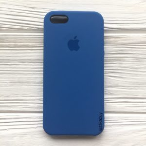 Оригинальный чехол Silicone Case с микрофиброй для  Iphone 5 / 5s / 5c /SE №12 (Blue)