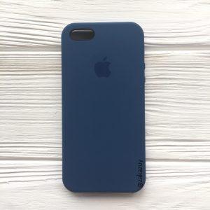 Оригинальный чехол Silicone Case с микрофиброй для Iphone 5 / 5s / 5c /SE №9 (Navy Blue)