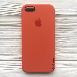 Оригинальный чехол Silicone Case с микрофиброй для Iphone 5 / 5s / 5c / SE №11 (Light Orange)