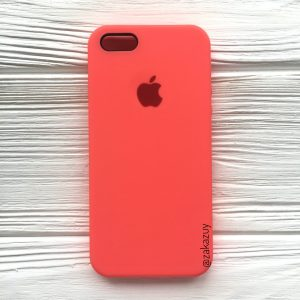 Оригинальный чехол Silicone Case с микрофиброй для Iphone 5 / 5s / 5c /SE №31 (Ultra Coral)
