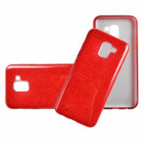 Силиконовый (TPU+PC) чехол Shine с блестками для Samsung J600F Galaxy J6 2018 (Красный)