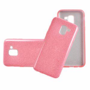Силиконовый (TPU+PC) чехол Shine с блестками для Samsung J600F Galaxy J6 2018 (Розовый)
