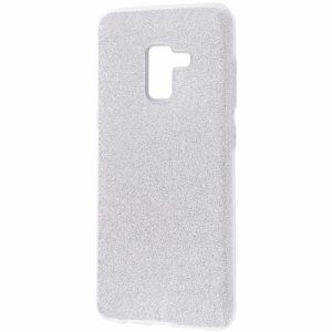 Силиконовый (TPU+PC) чехол с блестками Shine для Samsung Galaxy A6 Plus / J8 2018 (Серебряный)