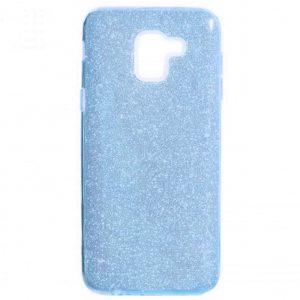 Силиконовый (TPU+PC) чехол Shine с блестками для Samsung J600F Galaxy J6 2018 (Голубой)