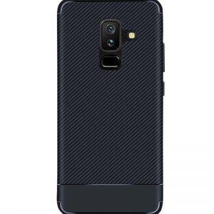 Cиликоновый (TPU) чехол Carbon для Samsung Galaxy J8 2018 (Синий)