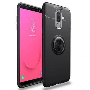 Cиликоновый чехол Deen ColorRing с креплением под магнитный держатель для Samsung Galaxy J8 2018 (Black)