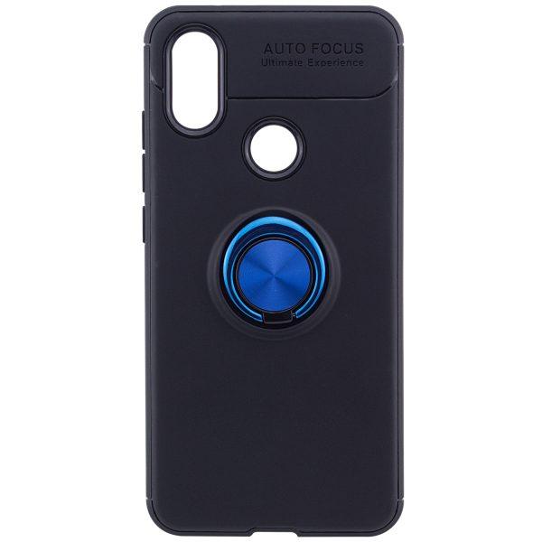 Синий силиконовый (TPU) чехол (бампер) ColorRing c кольцом и креплением под магнитный держатель для Xiaomi Redmi Note 6 Pro (Blue)