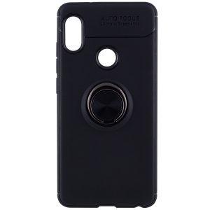 Cиликоновый чехол Deen ColorRing c креплением под магнитный держатель для Huawei P Smart Plus / Nova 3i (Черный)