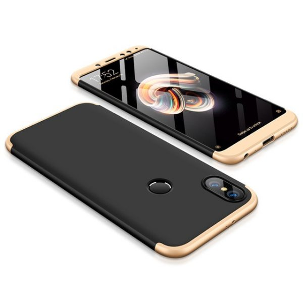 Пластиковая накладка GKK LikGus 360 градусов для Xiaomi Redmi Note 5 Pro / Note 5 (Black/Gold)