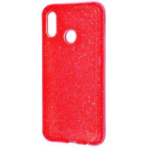Красный силиконовый (TPU+PC) чехол (накладка) с блестками Shine для Huawei P20 Lite (Red)