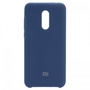 Оригинальный чехол Silicone case с микрофиброй для Xiaomi Redmi 5 Plus (Синий)