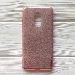 Силиконовый (TPU+PC) чехол Shine с блестками для Xiaomi Redmi 5 (Светло — Розовый)