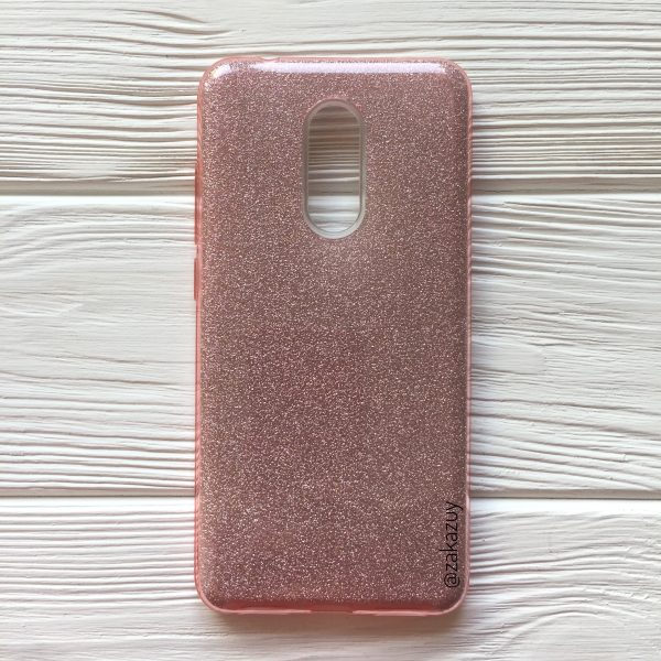 Силиконовый (TPU) чехол бампер с блестками Shine для Xiaomi Redmi 5 (Light Pink)