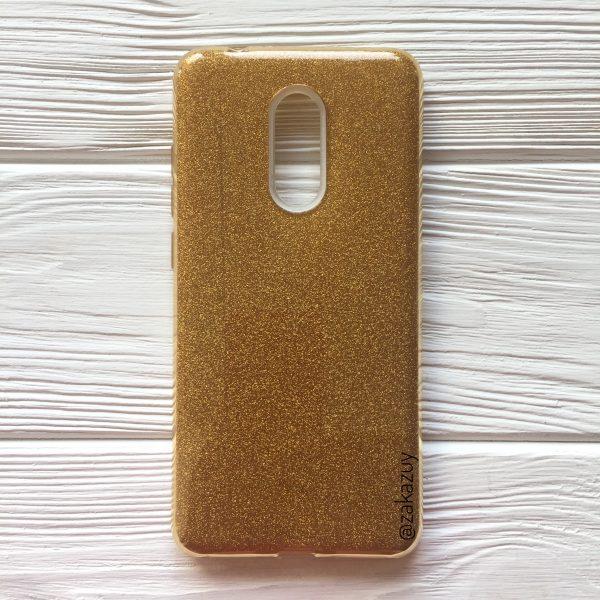 Силиконовый (TPU) чехол бампер с блестками Shine для Xiaomi Redmi 5 (Ultra Gold)