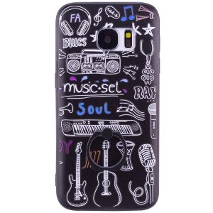 TPU чехол тематический с кольцом для Samsung G930F Galaxy S7 (Black Music)