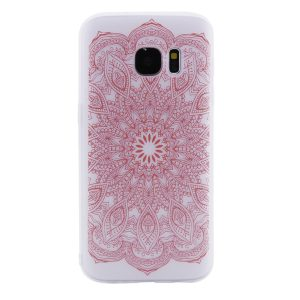 TPU чехол матовый soft touch для Samsung G930F Galaxy S7 (Розовый узор)
