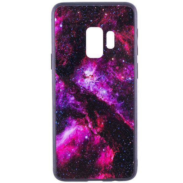 TPU+Glass чехол – бампер Космос для Samsung Galaxy S9 (Pink)