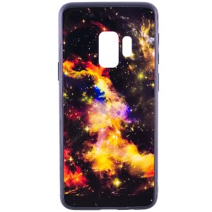 TPU+Glass чехол Космос для Samsung Galaxy S9 (Orange)