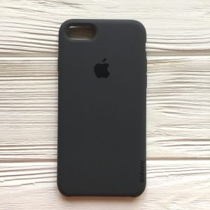 Оригинальный чехол Silicone Case с микрофиброй для Iphone 7 / 8 №37 (Dark Grey)