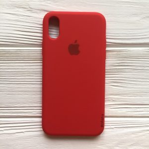 Оригинальный чехол Silicone Case с микрофиброй для Iphone XS Max №5 (Red)