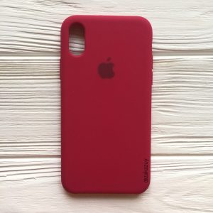Оригинальный чехол Silicone Case с микрофиброй для Iphone XR  №4 (Rose Red)