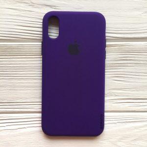 Оригинальный чехол Silicone Case с микрофиброй для Iphone X / XS №2 (Ultra Violet)