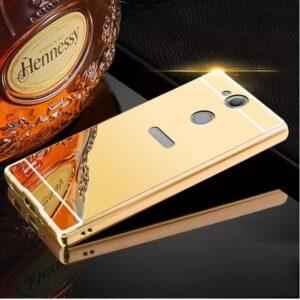 Металлический бампер с акриловой вставкой с зеркальным покрытием для Sony Xperia XA2 (Gold)