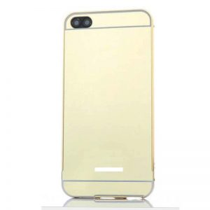 Металлический бампер с акриловой вставкой с зеркальным покрытием для Xiaomi Redmi 6A (Gold)