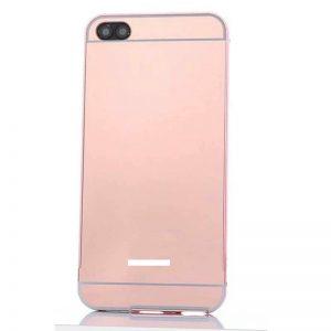 Металлический бампер с акриловой вставкой с зеркальным покрытием для Xiaomi Redmi 6A (Rose)