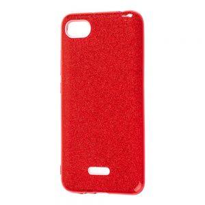 Силиконовый (TPU+PC) чехол Shine с блестками для Xiaomi Redmi 6A (Красный)