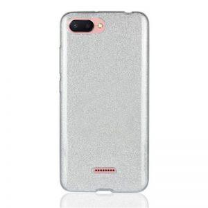 Силиконовый (TPU+PC) чехол Shine с блестками для Xiaomi Redmi 6A (Silver)