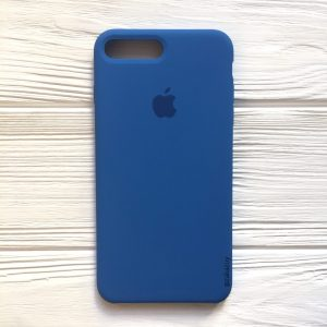 Оригинальный чехол Silicone Case с микрофиброй для Iphone 7 Plus / 8 Plus №12 (Blue)