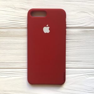 vОригинальный чехол Silicone Case с микрофиброй для Iphone 7 Plus / 8 Plus №26 (Burgundy)