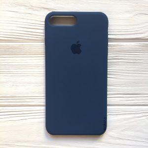 Оригинальный чехол Silicone Case с микрофиброй для Iphone 7 Plus / 8 Plus №22 (Dark Blue)