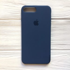 Оригинальный чехол Silicone Case с микрофиброй для Iphone 7 Plus / 8 Plus №22 (Dark Blue)