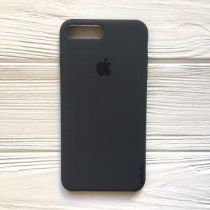 Оригинальный чехол Silicone Case с микрофиброй для Iphone 7 Plus / 8 Plus №37 (Dark Grey)