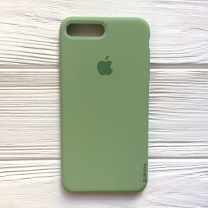 Оригинальный чехол Silicone Case с микрофиброй для Iphone 7 Plus / 8 Plus (Light Green) №10