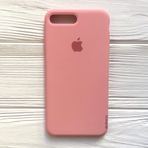 Оригинальный чехол Silicone Case с микрофиброй для Iphone 7 Plus / 8 Plus №14 (Light pink)