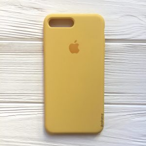 Оригинальный чехол Silicone Case с микрофиброй для Iphone 7 Plus / 8 Plus №13 (Yellow)