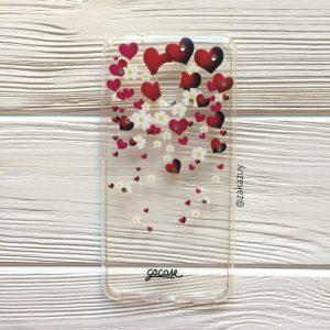 Прозрачный силиконовый (TPU) чехол (накладка) с сердечками и стразами для Meizu M5s